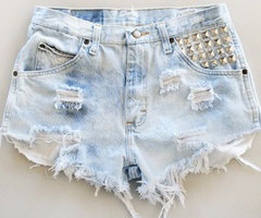 Bleached ripped and studded high waisted denim by SauvugeSociety