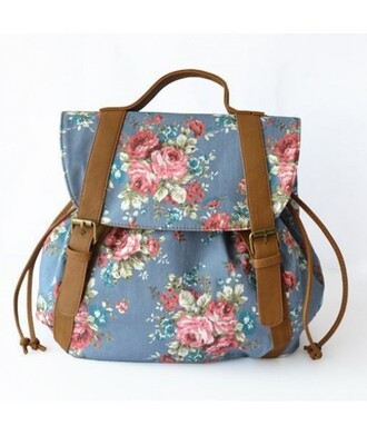 bag backpack blue floral fashion style cute girly back to school summer trendy it girl shop