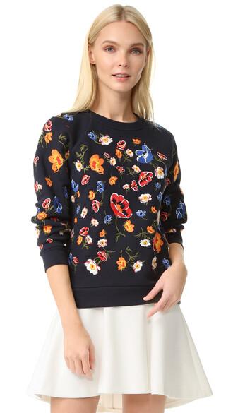 sweatshirt embroidered navy sweater