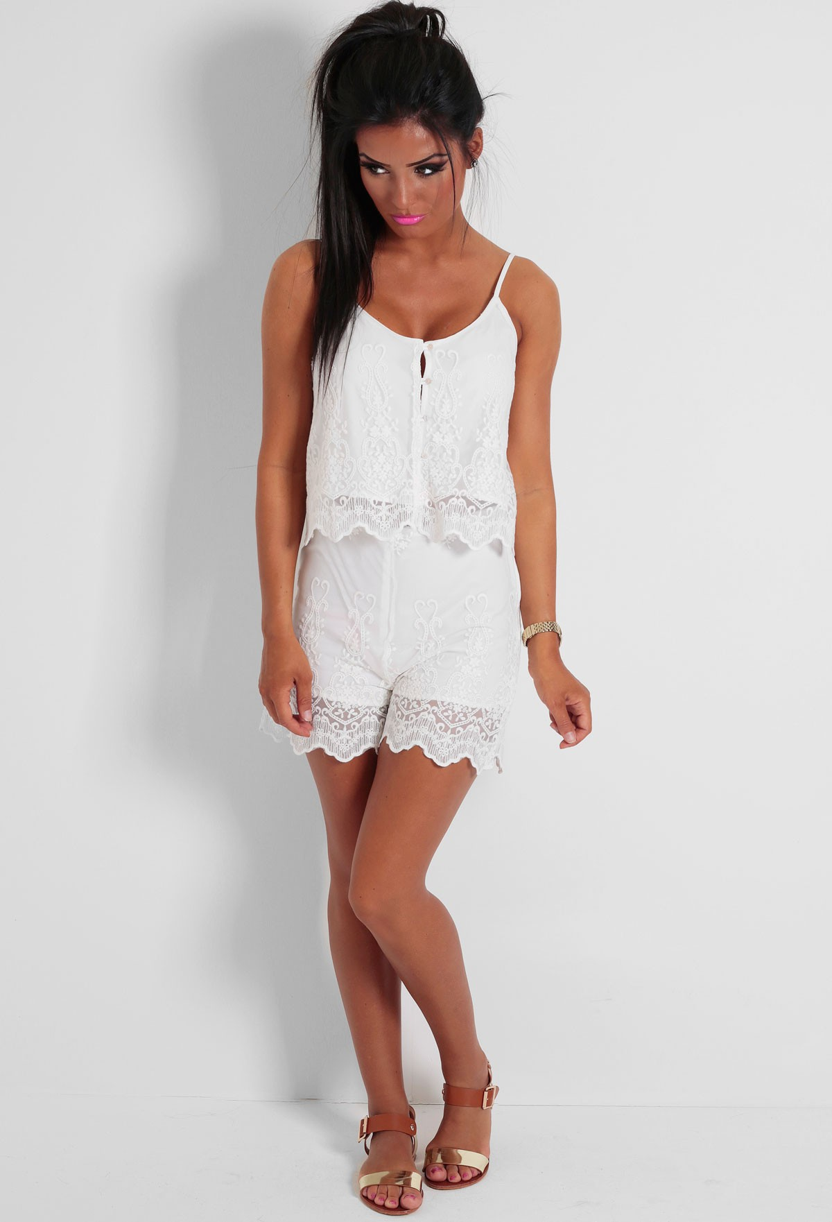 Cadena White Lace Overlay Two Piece Set | Pink Boutique