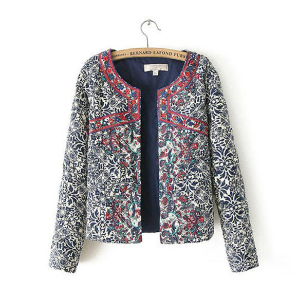 coat retro mixing color floral