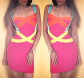 dress,party dress,bandage dress,bodycon dress,pink,yellow,colorblock