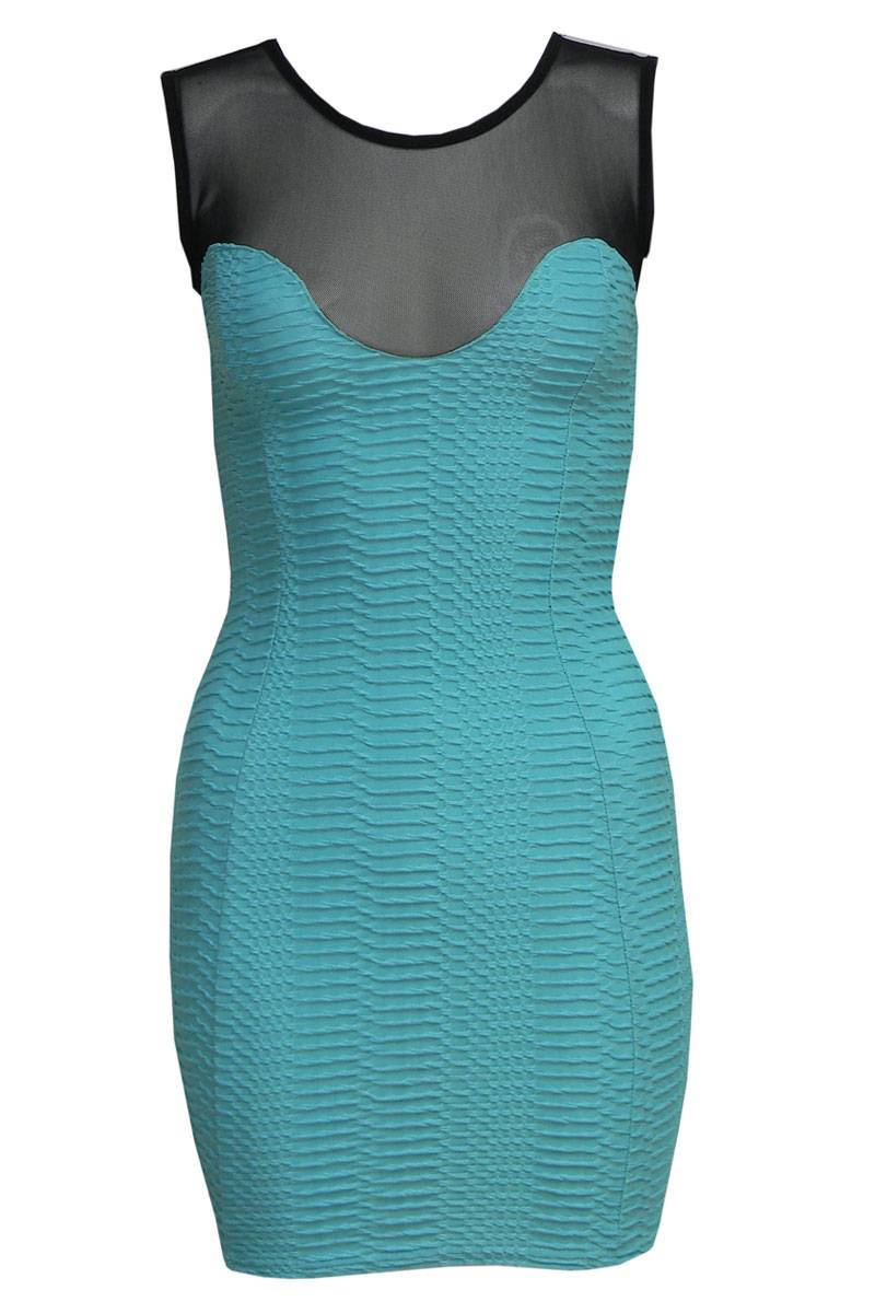 Janae Textured Mesh Panel Bodycon Dress in Turquoise