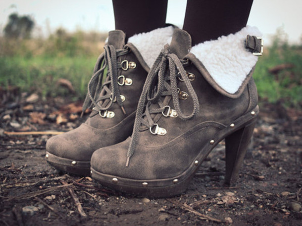shoes Boots with Heels high heels fur brown shoes boots heels fashion cute high heels autumn boots cute