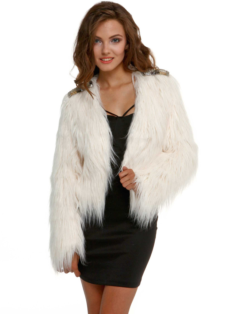 White fur jacket in clothing at living royal – living royal