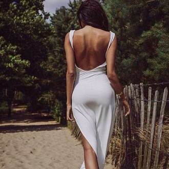 dress white dress bare back summer dress backless dress sea of shoes sexy party party dress streetstyle beach maxi dress slit dress stretchy body bodycon summer white chic minimalist tight