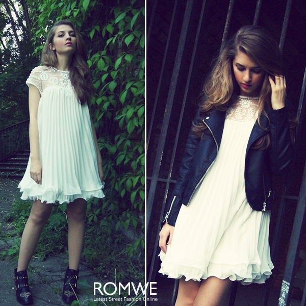 ROMWE | Beaded Pleated Layered White Dress, The Latest Street Fashion