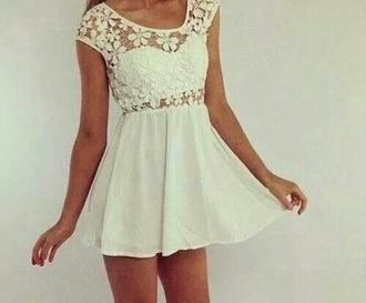 dress white floral short dress cute short sleeved