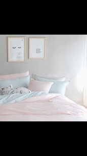 home accessory,bedding,pink on bottom,polka dots,pink,tumblr bedroom,bedroom,bedsheets,pastel,baby pink,baby blue,girly