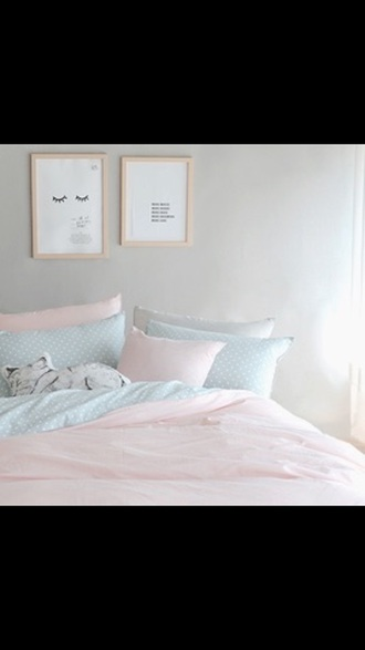 home accessory bedding pink on bottom polka dots pink tumblr bedroom bedroom bedsheets pastel baby pink baby blue girly