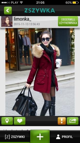 coat red winter coat
