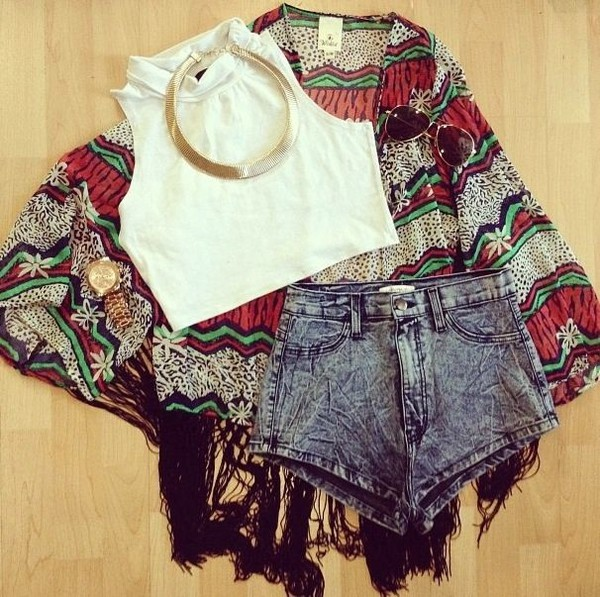 shorts watch kimono fringe and frange