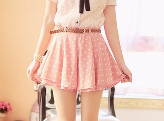 skirt pink skirt polka dots cute skirt summer skirt shirt cute skirts pink frilly pink lacy pink fully skirts ulzzang pretty belt cream shirt lace shirt korean fashion korean style kfashion