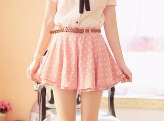 skirt pink skirt polka dots cute skirt summer skirt shirt cute skirts pink frilly pink lacy pink fully skirts ulzzang belt cream shirt lace shirt korean fashion korean style kfashion
