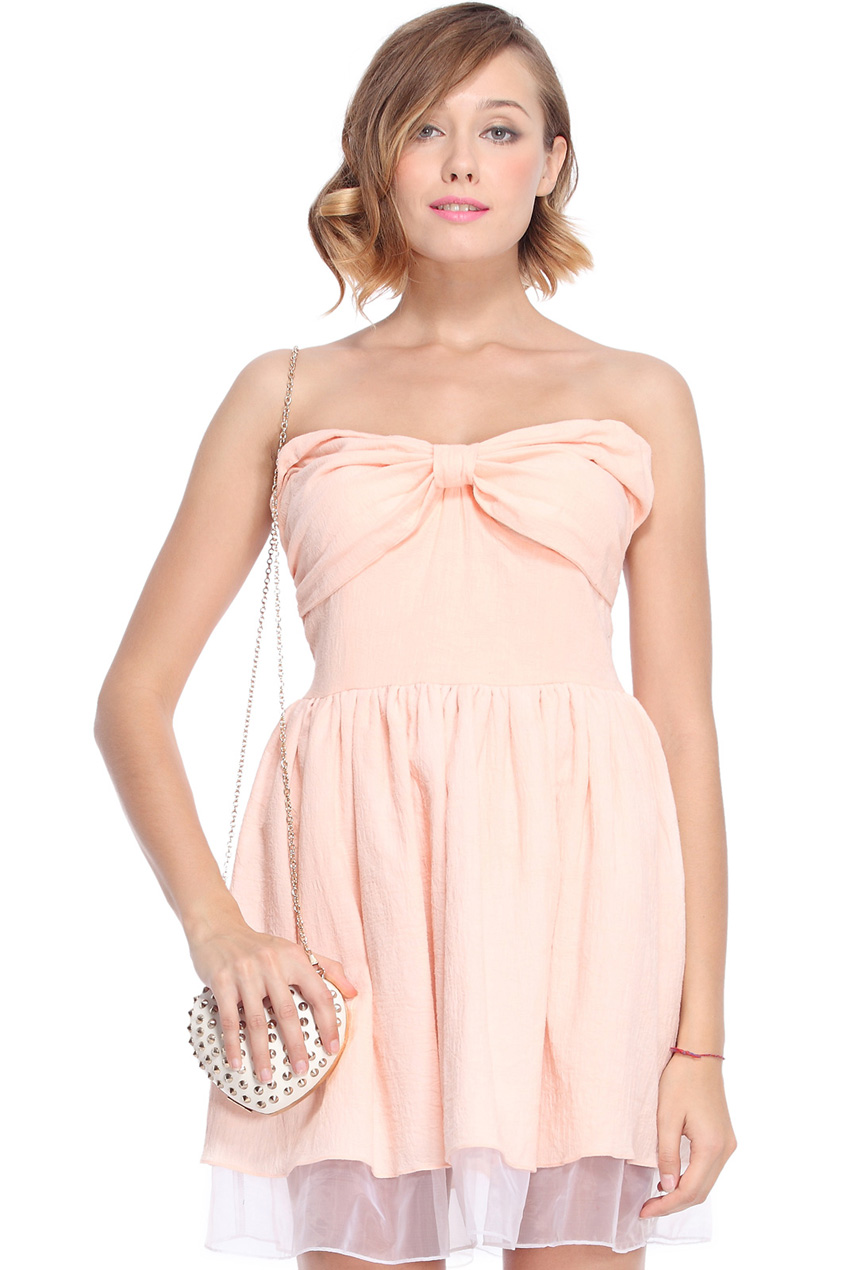 ROMWE | Bow Embellished Pink Bandeau Dress, The Latest Street Fashion