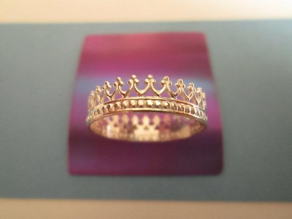 Bague de couronne perlée en argent Sterling par SilverCanyonJewelry