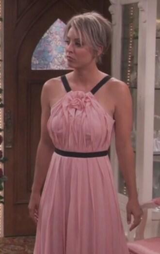 dress blush pink wedding penny kaley cuoco big bang theory sleeveless ruffle