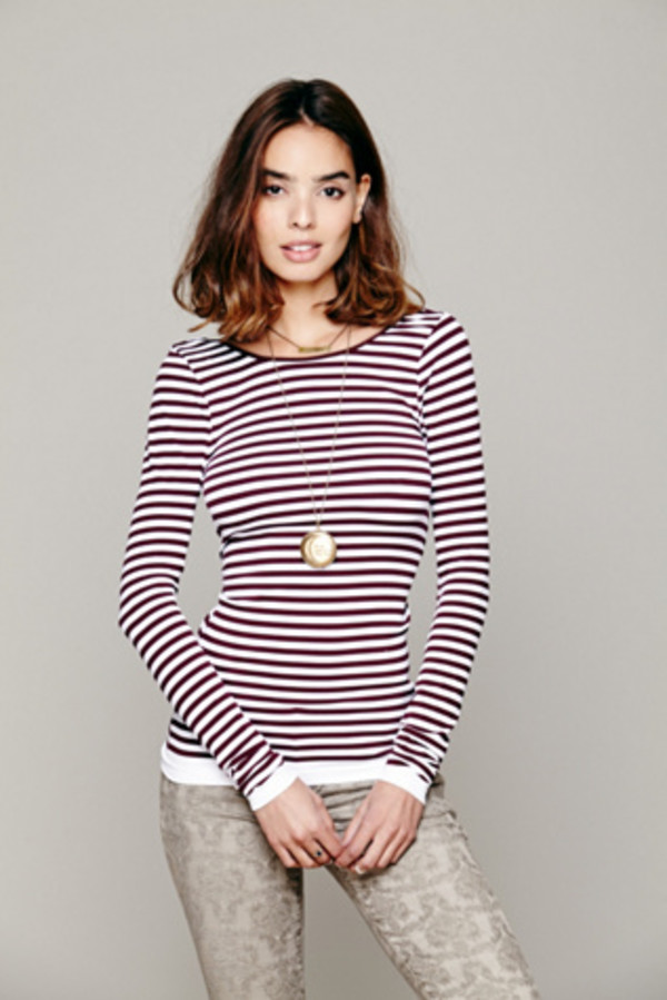 tees apparel tops long sleeve long tees striped tees  striped lowback top apparel accessories clothes shirt top camisoles tank top top