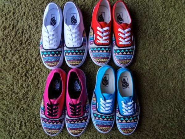 shoes aztec vans blue pink red white
