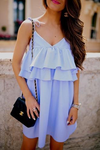 dress tumblr ruffle ruffle dress mini dress blue dress bracelets accessories accessory jewels jewelry