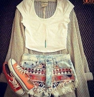 shorts summer outfits cut off shorts aztec aztec print shorts denim denim shorts crop tops white crop tops sweater cardigan beige cardigan knitwear tan cardigan converse orange shoes blouse shirt coat aztec orange red shorts short tribal