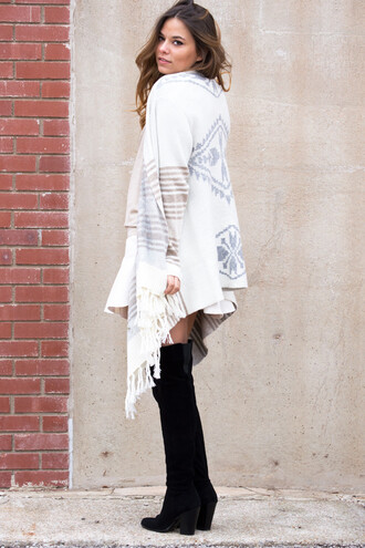 cardigan fringes fringe tribal cardigan tribal pattern boots bohemian winter sweater winter outfits boho boho chic long sleeves fashion style trendy trends women tumblr outfit outfit fall outfits sweater skirt boutique