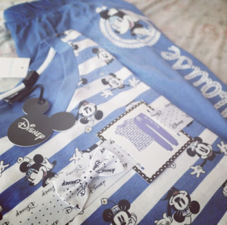 shirt mickey mouse minnie mouse disney too pajamas blue white black top