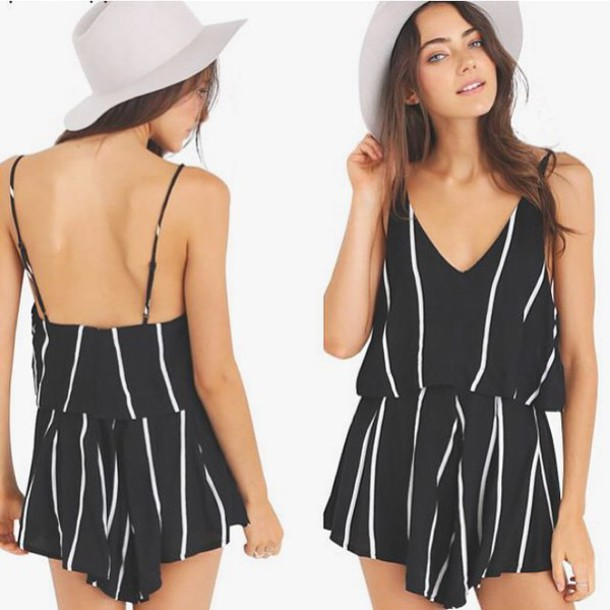 0d547087857 romper behind hemlines stripes in style ootd fashion romper outfit idea  outfit free shipping striped romper
