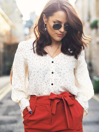 shirt tumblr white shirt polka dots pants red pants high waisted pants sunglasses rayban earrings silver jewelry jewels jewelry necklace blogger the little magpie work outfits brunette wavy hair office outfits