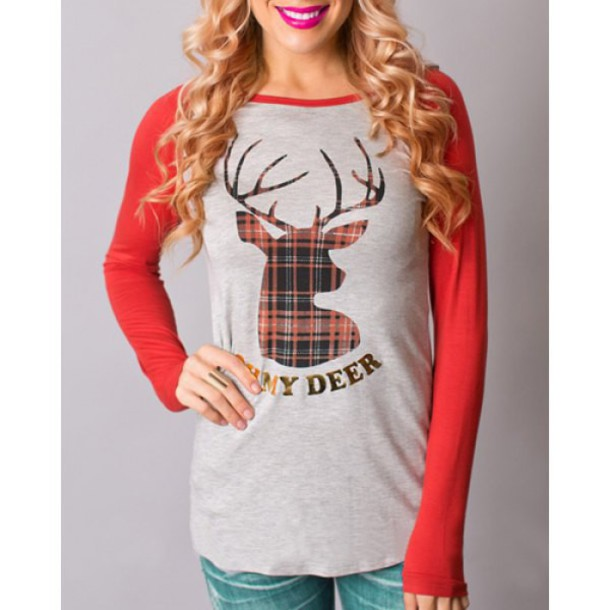 top fashion long sleeves deer slash neck long sleeve deer pattern christmas t shirt for women trendy fall outfits cool casual cute rose wholesale