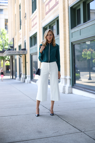 the classy cubicle blogger blouse shoes bag jewels white pants wide-leg pants long sleeves turquoise high waisted pants black heels black bag