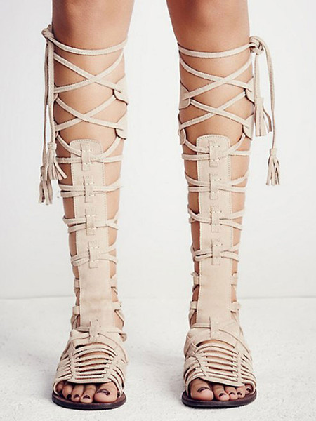 996a45b39416 Beige Suede Lace Up Knee High Gladiator Flat Sandals