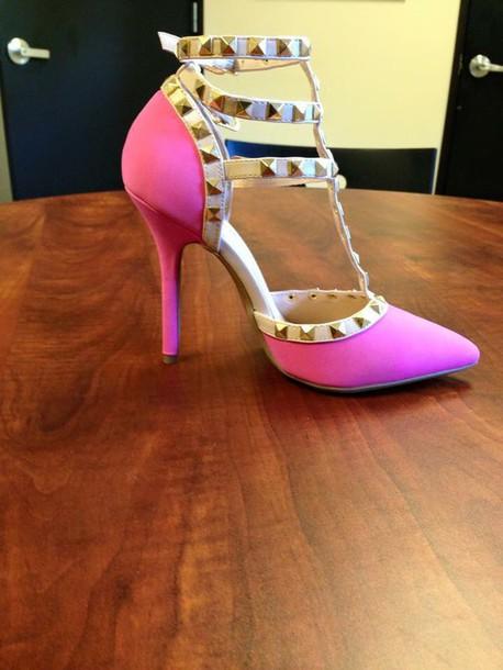 shoes heels pink heels studs