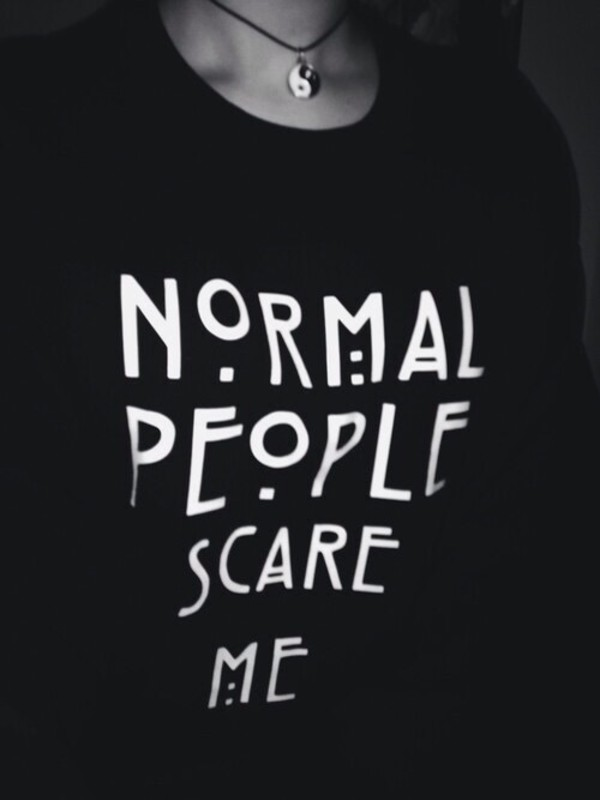 sweater american horror story jumper normal people scare me black sweater white sweater ahs season shirt normal people scare me