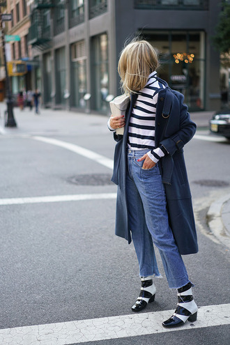 coat tumblr blue coat top turtleneck stripes striped top denim jeans blue jeans boots mid heel boots black and white fall outfits french girl style striped turtleneck printed boots ankle boots bag white bag