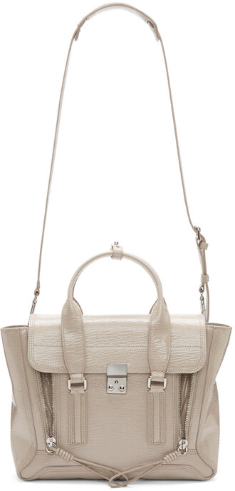 satchel leather beige bag