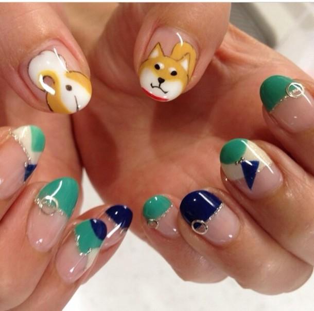 nail polish, shiba inu, doge, manicure, gel nails, shiba, gel ...