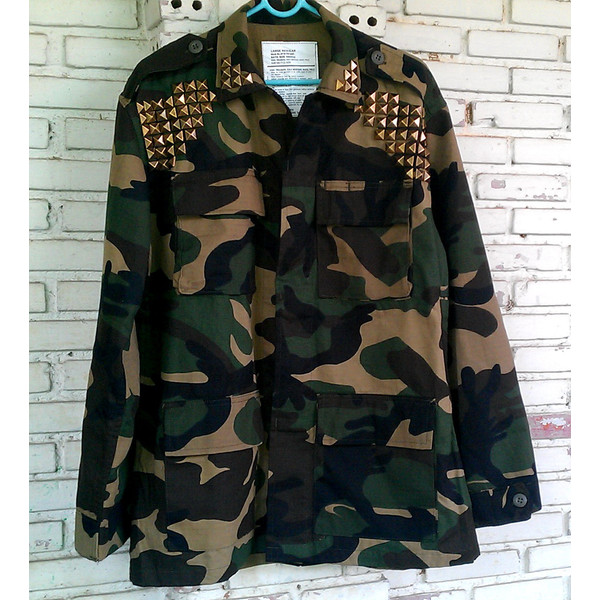 Studded Military Camo Jacket / DIY Studded Camouflage Jacket... - Polyvore