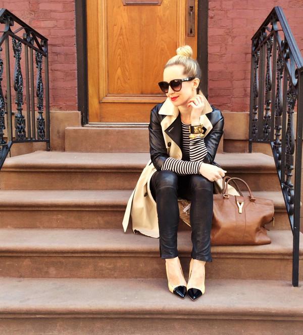 brooklyn blonde coat t-shirt pants shoes bag shirt jewels jeans