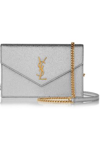 metallic bag shoulder bag leather silver