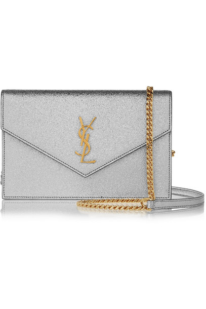 Saint Laurent metallic bag shoulder bag leather silver