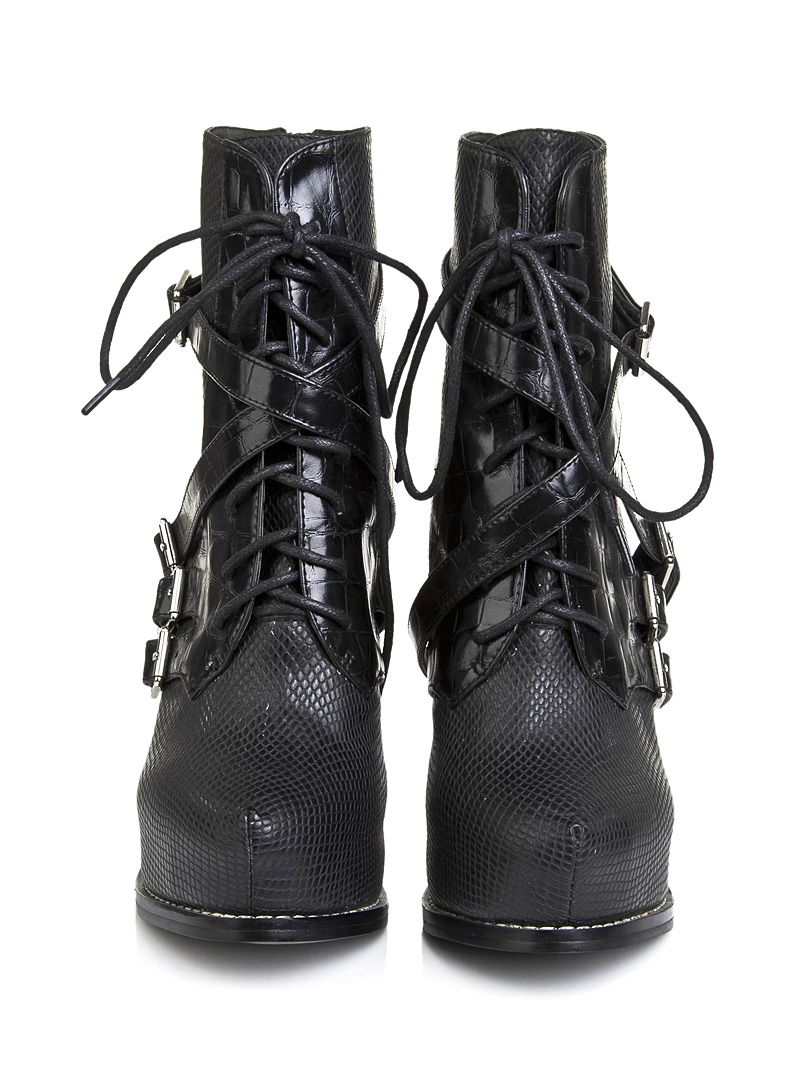 Black Lace Up Embossed Leather Heeled Ankle Boots - Choies.com