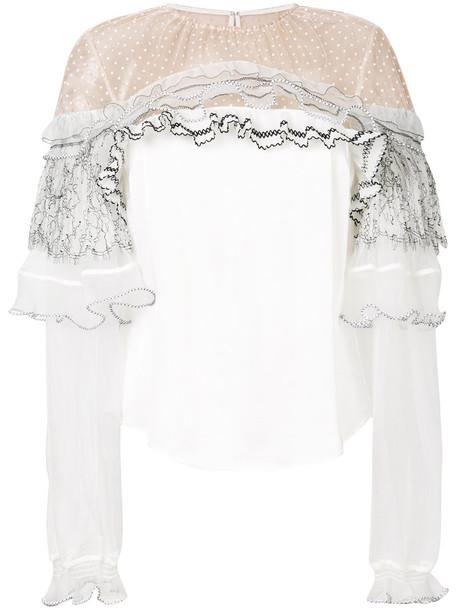self-portrait blouse women lace white top