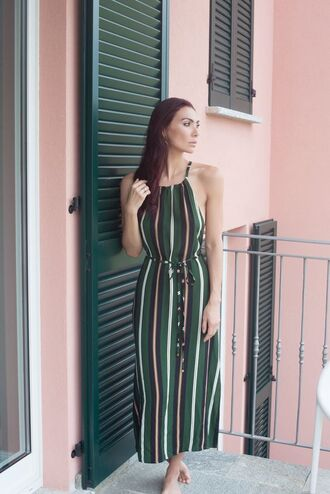 dress green dress tumblr maxi dress long dress stripes striped dress halter neck halter dress