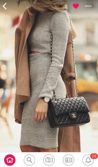 dress grey top pencil skirt