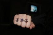 jewels,ring,double ring,anchor,captain wheel ring,jewelry,silver,hipster