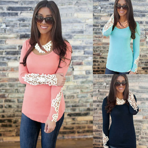 aliexpresscom buy 2015 new fashion lace crochet t shirt candy color pink floral lace slim women cotton long sleeve t shirt female tops tees shirts from - Buy Candy By Color