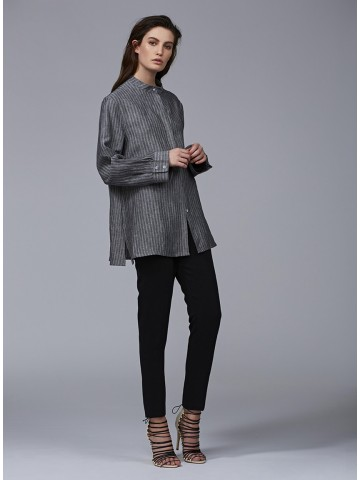 TY-LR The Cate Shirt CHARCOAL STRIPE