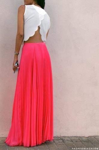skirt pinterest fashion skirt pink skirt white top white crop tops tumblr outfit