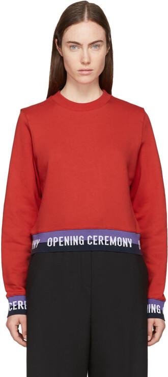 sweatshirt cropped red sweater